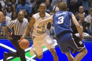 Reyshawn Terry drives down the court during the first half of the final regular season game of the ACC.