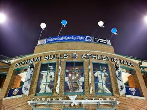 The sun has set but the game goes on at the Durham Bulls Athletic Park.