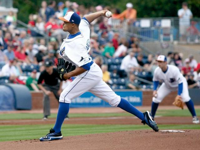 Chris Archer pitches during the Red Sox vs. Bulls game on May 18, 2012 in Durham, NC.<br/>Photographer: Jerome  Carpenter