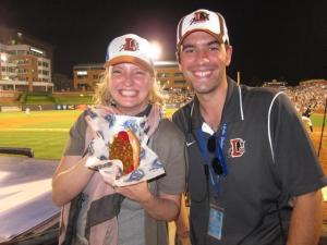 Samantha Swan and Nick Bavin, Sponsorship Account Executive for the Durham Bulls. Photo courtesy of Samantha Swan.