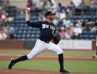 Matt Buschmann (2) is the starting pitcher for the Bulls. The Durham Bulls hosted the Charlotte Knights for the Bulls final home game Tuesday night August 27, 2013. (Photo by Jack Tarr)