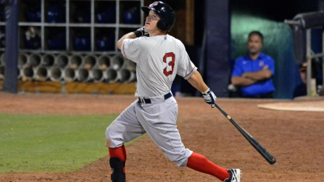 Pawtucket Red Sox second baseman Brock Holt fouls off a pitch during a 10-pitch at-bat Tuesday night against the Durham Bulls. Holt delivered the go-ahead two-run single in the Red Sox 2-1 win in the first game of the Governors' Cup Series.