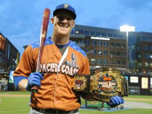 Allan Dykstra after winning the Triple-A Home Run Derby at the Durham Bulls Athletic Park on July 14, 2014 in Durham, NC. (Will Bratton/WRAL contributor)
