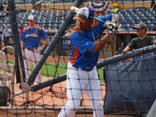 Members of the Triple-A All-Star teams took batting practice and fielded ahead of their game Wednesday at the Durham Bulls Athletic Park.