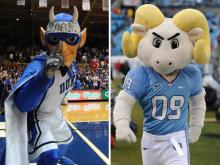They are the ultimate school cheerleaders, but players, coaches and fans don't know their names, what they look like or the sound of their voices. The men inside the Duke Blue Devil and UNC Rameses mascot costumes say they plan to keep it that way.