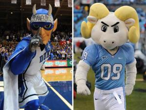 Duke's Blue Devil and UNC's Rameses (photo by Nick Stevens and Will Bratton)
