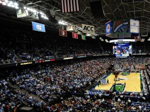 An overall view of the Greensboro Coliseum during semifinal action of the 2013 ACC Men's Basketball Conference Tournament on March 16, 2013 in Greensboro, NC.