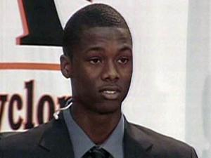 Top prep basketball recruit Harrison Barnes announces his decision to play for the UNC Tar Heels during a Nov. 13, 2009, news conference in his hometown of Ames, Iowa.
