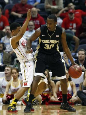 Travis McKie of Wake Forest on March 8, 2012. <br/>Photographer: Jeff Reeves