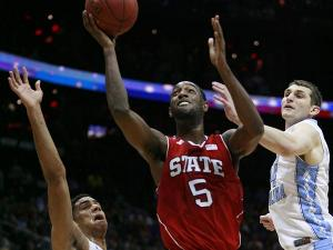 C.J. Leslie of N.C. State takes the ball to the rim during the first hald against North Carolina during the semi-final round of the ACC Tournament in Atlanta on March 10, 2012.