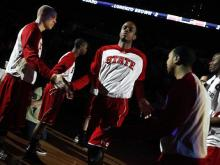 N.C. State sophomore Lorenzo Brown is introduces to the crowd during the semi-final round of the ACC Tournament on March 10, 2012.