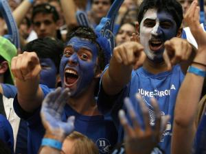 Duke students prior to the Blue Devils' game against NC State on Thursday, February 7, 2013 in Durham, NC (Photo by Jack Morton).