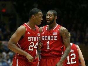 NC State's T.J. Warren (left) and Richard Howell during the Wolfpack's 98-85 loss at Duke on Thursday, February 7, 2013 in Durham, NC (Photo by Jack Morton).