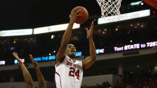 TJ Warren lays in two of his game-high 30 points Wednesday as the North Carolina State Wolfpack beat Florida State at PNC Arena, 74-70. (Jerome Carpenter, WRAL contributor)