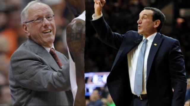 The two winningest head coached in Division I men's basketball history, Jim Boeheim and Mike Krzyzewski, will meet Saturday.