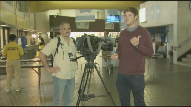 A television crew from England was in Chapel Hill to do a story on the Duke/UNC rivalry.