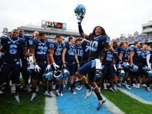 Tre Boston (10) dances after UNC defeats N.C. State, Saturday, October 27, 2012 in Chapel Hill, N.C.