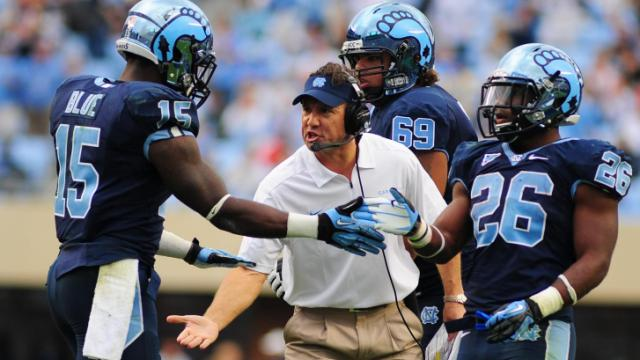 UNC head coach Larry Fedora reacts to a touchdown by A.J. Blue during the North Carolina Tar Heels vs. N.C. State Wolfpack NCAA football game, Saturday, October 27, 2012 in Chapel Hill, N.C.