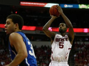 C.J. Leslie (5) shoots during the Duke vs. NC State game on January 12, 2013 in Raleigh, North Carolina.