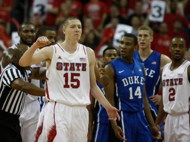 Scott Wood (15) after hitting a big shot during the Duke vs. NC State game on January 12, 2013 in Raleigh, North Carolina. <br/>Photographer: Jerome Carpenter