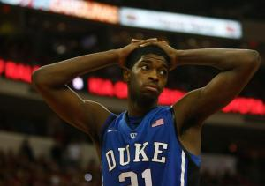 Amile Jefferson (21) after picking up a foul during the Duke vs. NC State game on January 12, 2013 in Raleigh, North Carolina.