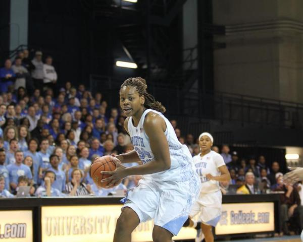Xylina Gross (34) charges inside for UNC. Duke visits UNC for a womens ACC basketball showdown. Duke leaves with a 84 to 63 victory. Photo by CHRIS BAIRD <br/>Photographer: Chris Baird