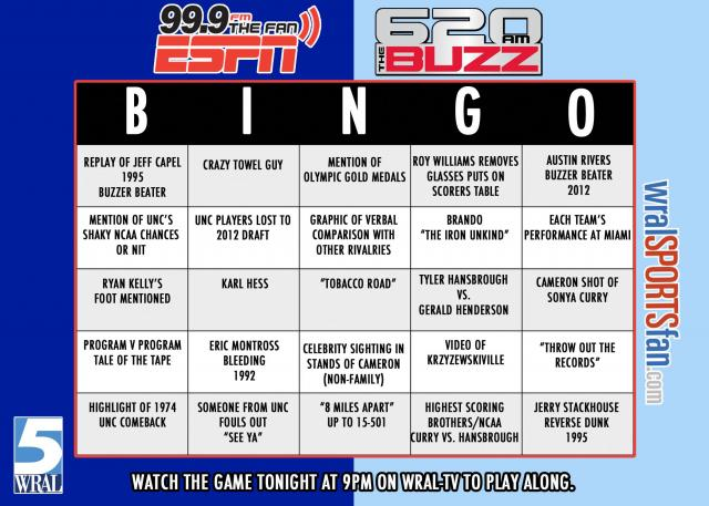 Battle of the Blues bingo card