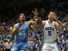North Carolina started strong Wednesday night, but Duke's strong second half pushed the Blue Devils over the top in the first of two meetings between the rivals.