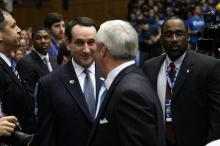 Duke coach Mike Krzyzewski and UNC coach Roy Williams prior to the Blue Devils' game against North Carolina on Wednesday, February 13, 2013 in Durham, NC (Photo by Jack Morton).