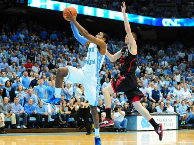 Dexter Strickland (1) goes up for a shot during the North Carolina Tar Heels vs. NC State Wolfpack NCAA basketball game, Saturday, February 23, 2013 in Chapel Hill, NC.<br/>Photographer: Will Bratton