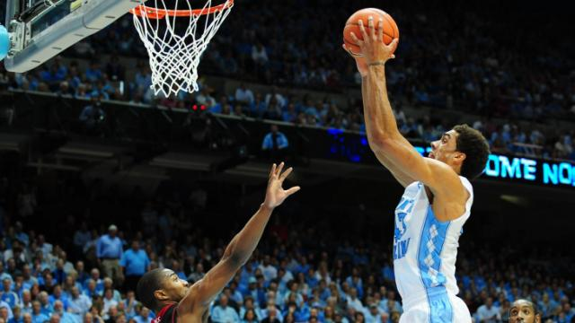 James Michael McAdoo (43) goes up for a shot during the North Carolina Tar Heels vs. NC State Wolfpack NCAA basketball game, Saturday, February 23, 2013 in Chapel Hill, NC.