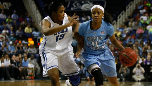 Brittany Rountree (11) brings the ball up court against Richa Jackson (15) during the championship game of the ACC Women's Basketball Tournament in Greensboro, N.C., Saturday, March 10, 2013.