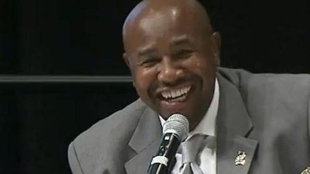 NCCU's Henry Frazier shares a laugh at the 2013 Pigskin Preview July 25.