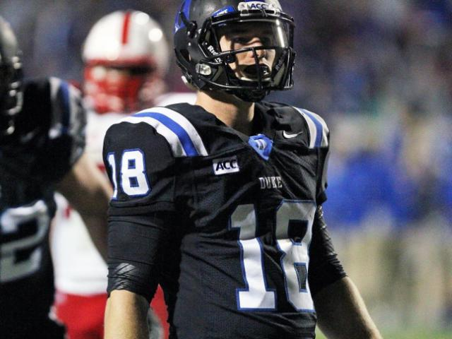 Duke's Brandon Connette celebrates the go-ahead touchdown late during the Blue Devils' game versus N.C. State on November 9, 2013 in Durham, NC.  Duke defeated N.C. State 38-20 (Photo by Jack Morton).