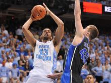 Leslie McDonald hit a jumper to put North Carolina ahead of Duke 62-60 with three minutes left to play.