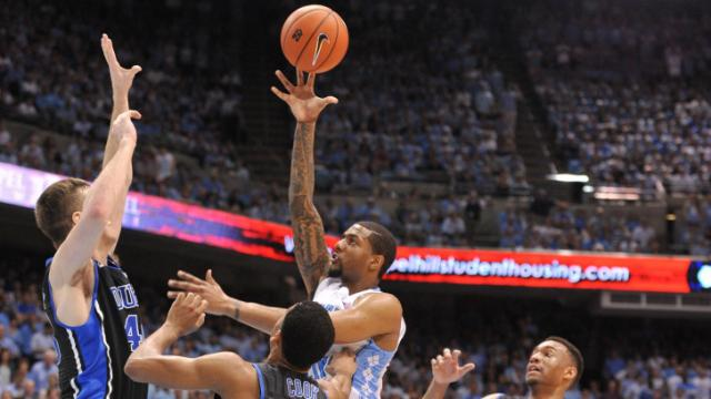 Leslie McDonald (2) goes up for a shot during action at the Dean E. Smith Center between the North Carolina Tar Heels and the Duke Blue Devils on February 20, 2014 in Chapel Hill, NC. (Will Bratton/WRAL contributor)