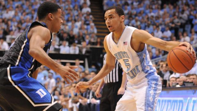 Marcus Paige (5) brings the ball up the court during action at the Dean E. Smith Center between the North Carolina Tar Heels and the Duke Blue Devils on February 20, 2014 in Chapel Hill, NC. (Will Bratton/WRAL contributor)