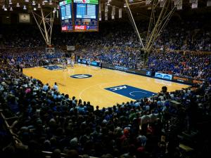 Cameron Indoor is packed with standing fans for the game against UNC on March 8, 2014.