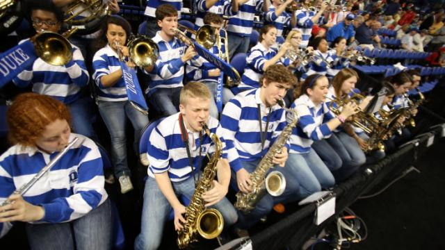 Duke's pep band during the Blue Devils' ACC Tournament game verus NC State on Saturday, March 15, 2014 in Greensboro, NC.  Duke won 75-67.  (Photo by Jack Morton)