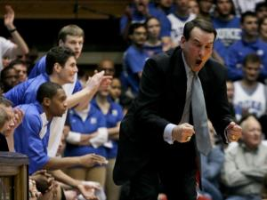 Duke head basketball coach Mike Zrzyzewski shouts toward the floor in the Blue Devils' contest against Georgetown in Durham.