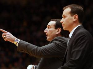 Duke coach Mike Krzyzewski, along with assistant Chris Collins, during Wednesday night's victory over Boston College in Durham, NC (Photo by Jack Morton).