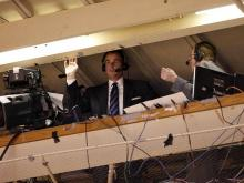 ESPN commentators Jay Bilas and Mike Patrick call the game from the rafters in Cameron Indoor Stadium on February 4, 2010.