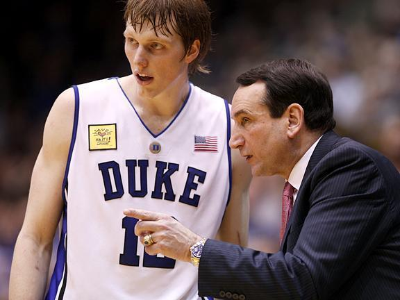 Duke head coach Mike Krzyzewski talks with Kyle Singler on February 4, 2010.<br/>Photographer: Jeff Reeves