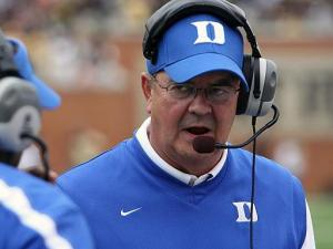 Duke coach David Cutcliffe during the Blue Devils' 54-48 loss at Wake Forest on Saturday, September 11, 2010 in Winston-Salem, NC. (Photo by Jack Morton)
