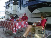 Alabama fans tailgate in Durham Friday. The Crimson Tide face the Blue Devils Saturday at 3:30 p.m.