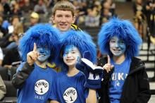 Duke fans show their support prior to a game between the Duke Blue Devils and the Wake Forest Demon Deacons at the Lawrence Joel Veterans Memorial Coliseum in Winston-Salem, NC on January 22, 2010. Duke won 83-59. (Photo by Lance King)