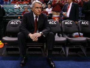 Maryland head coach Gary Williams sits alone on the bench in Greensboro, NC on March 11, 2011.