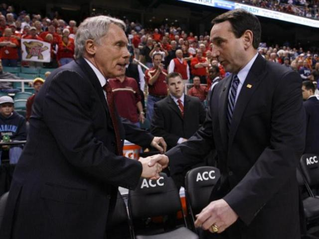 Maryland head coach Gary Williams shakes hands with Duke head coach Mike Krzyzewski in Greensboro, NC on March 11, 2011.<br/>Photographer: Jeff Reeves