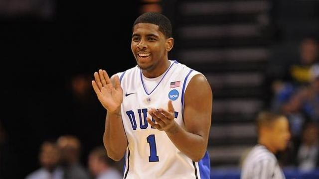 March 18 2011: Duke guard Kyrie Irving (1) reacts during a game between the Hampton Pirates and the Duke Blue Devils in the Second Round of the NCAA Division I Men's Basketball Championship at the Time Warner Cable Arena in Charlotte, NC. Duke won 87-45. (Photo by Lance King)