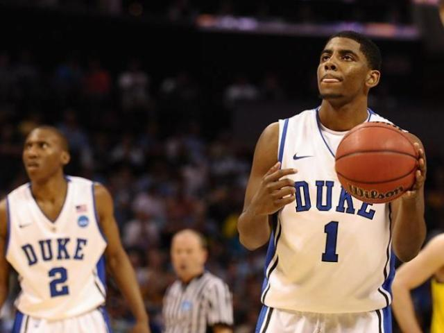 March 20 2011: Duke guard Kyrie Irving (1) at the free throw line during a game between the Michigan Wolverines and the Duke Blue Devils in the Third Round of the NCAA Division I Men&#039;s Basketball Championship at the Time Warner Cable Arena in Charlotte, NC. Duke won 73-71.<br/>Photographer: Lance  King
